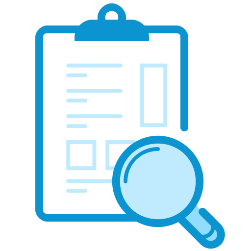magnifying glass over clipboard icon
